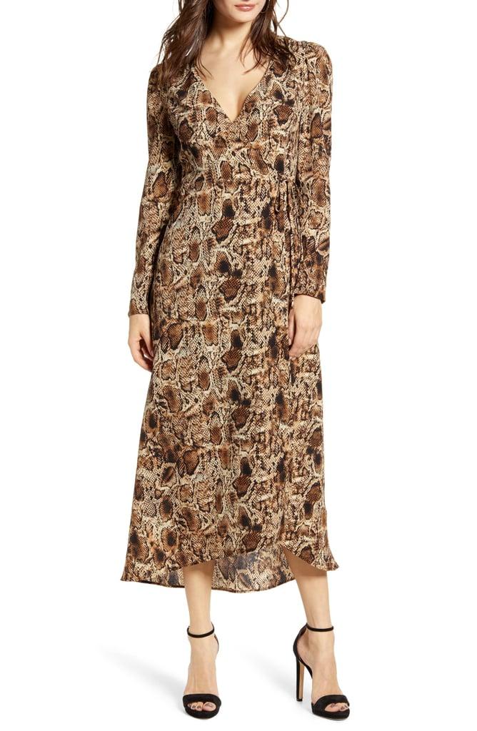 All In Favor Long-Sleeve Midi Wrap Dress