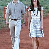For a photocall at Uluru, Kate wore a grey and white Hobbs dress we first saw on her during the run-up to London 2012.