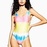 Topshop Tie Dye Ribbed Scoop Swimsuit
