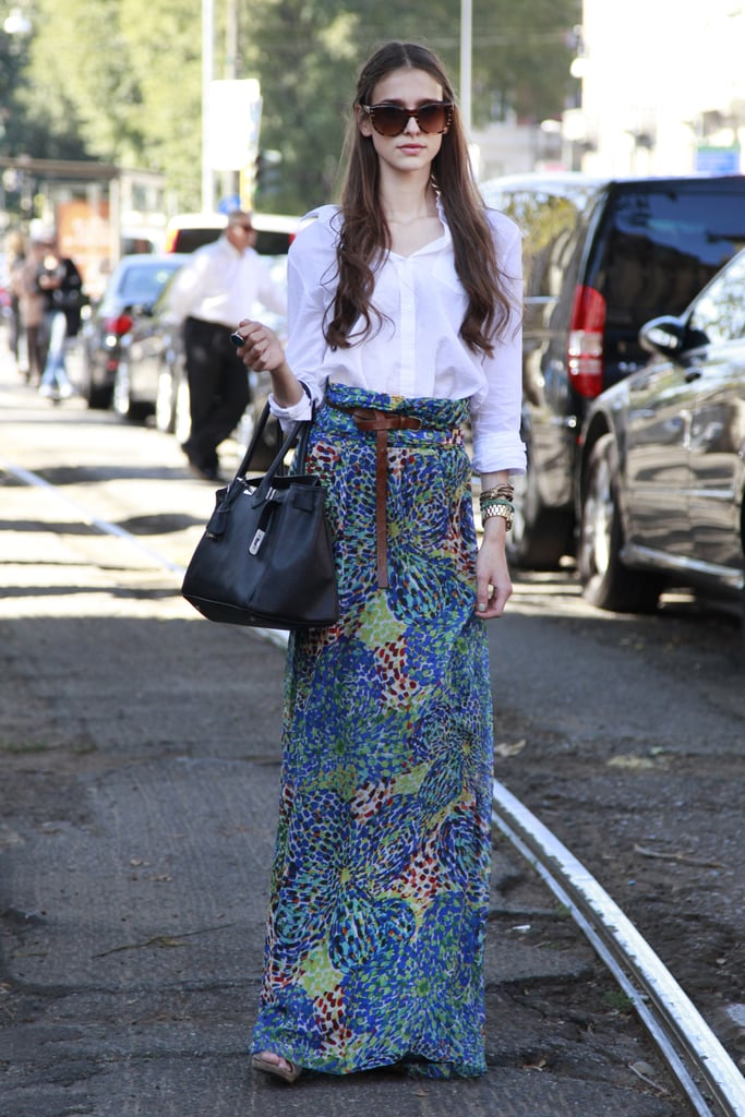 Effortless appeal in a white button-down and printed maxi.