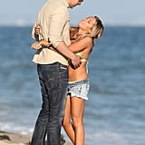 Ashley Tisdale and Scott Speer hugged on the beach in Malibu.