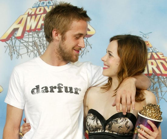 Ryan Gosling and Rachel McAdams gazed into each other's eyes after winning 2005's best kiss for The Notebook.