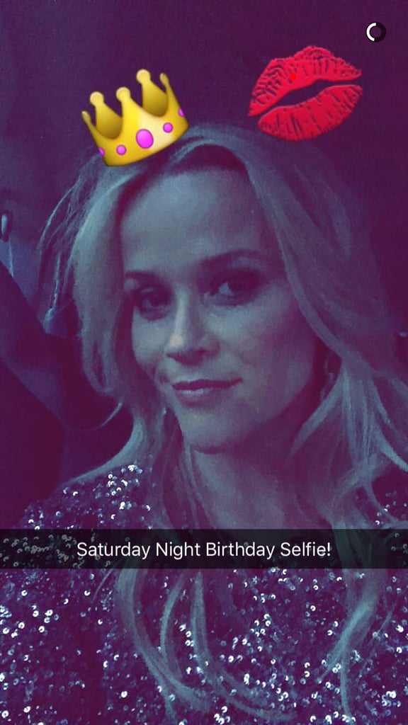 "Tuesday marks a major milestone for Reese Witherspoon, as it will be her 40th birthday. On Saturday, the actress got a head start on the celebration with a night out on the town with a huge group of her famous pals, including Kate Hudson, Jennifer Aniston, Justin Theroux, Chris Martin, Courteney Cox, Sarah Paulson, Matthew McConaughey, Isla Fisher, and Tobey Maguire. In addition to Reese's friends stepping out, she also got a private concert from Taylor Swift and hit the stage with Keith Urban!  Fortunately, both Reese and Kate took to social media to document their night. The mom of Ava, Deacon, and Tennessee shared a few fun pictures on Snapchat and Instagram, including a gorgeous birthday snap of herself in a sparkly minidress with a caption that read, ""Happy Saturday y'all!! #BirthdayWeekend."" Kate, on the other hand, opted for a festive photo collage and wrote, ""When you take a sh*t load of pictures and you still don't have it perfect so you go for the ole collage post....Happy Birthday gorgeous girl @reesewitherspoon !!! Love you #TequillaFirst #PostingLater #SaturdayNight #ImSoExcitedToGetIntoBedIDontEvenKnowWhatToDoWithMyself #NotWashingMyFace #GoodNight."" Keep reading to see more of the girls' night out, and then check out even more celebrities who are turning 40 this year."