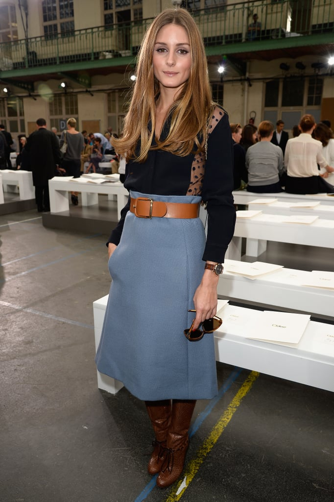 Olivia Palermo was ladylike in a midi skirt and boots at ...