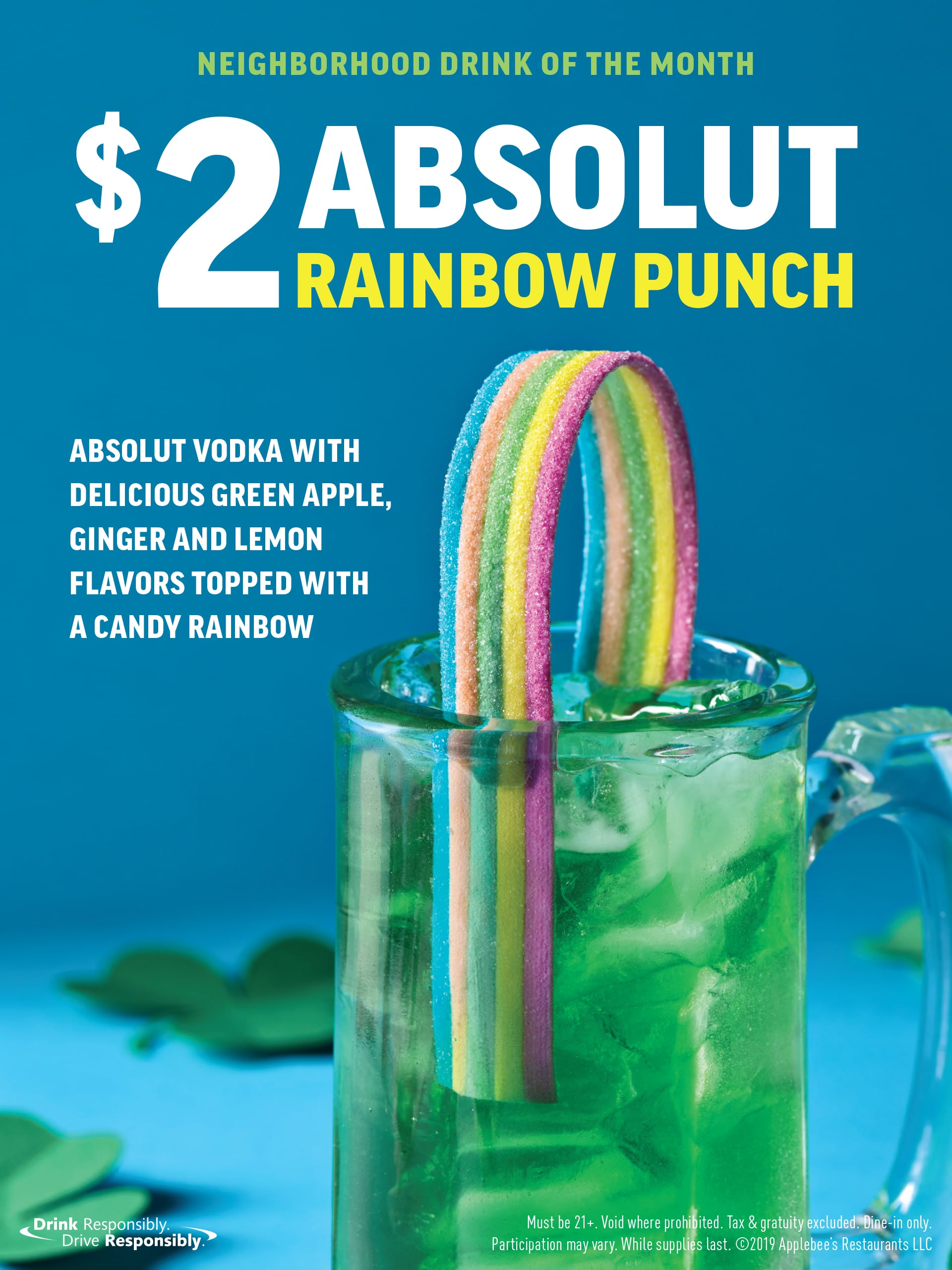 Applebee's Absolut Rainbow Punch Cocktail Spring 2019