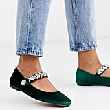 ASOS DESIGN League Mary Jane Ballet Flats