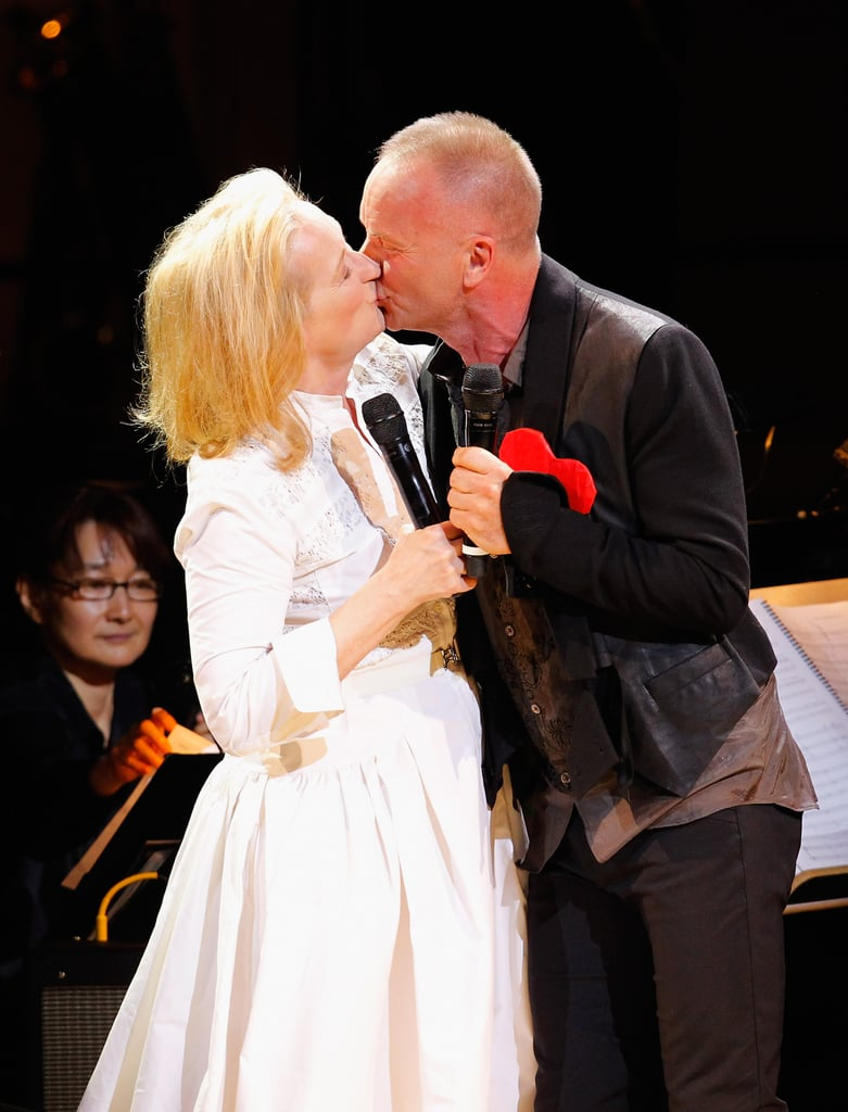 Sting planted a kiss on Meryl Streep at the Revlon Concert for the Rainforest Fund at Carnegie Hall in NYC.