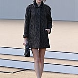 Alexa Chung posed in a dark leopard coat and ankle-strap pumps at Burberry Prorsum.