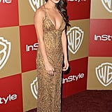 Jamie Chung took her InStyle party look in a very sexy direction, donning a gold-sequin slip dress with a whole lot of décolletage on display.
