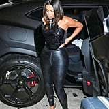 Kim Kardashian Black Leather Outfit LA July 2019