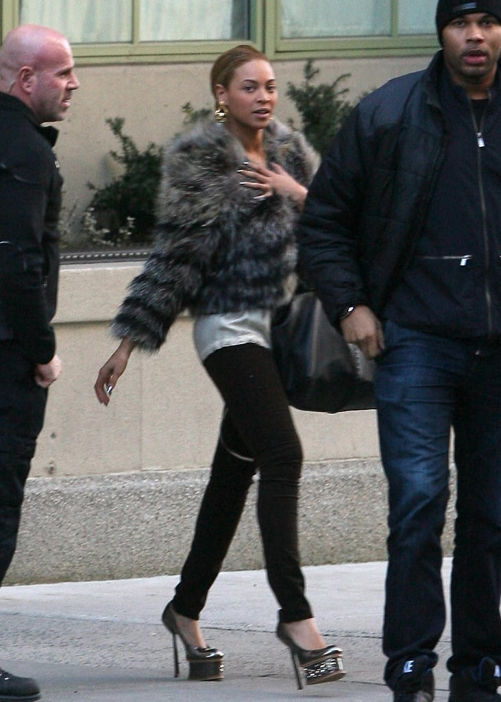 Pictures of Beyonce Leaving Her NYC Home in a Fur Jacket