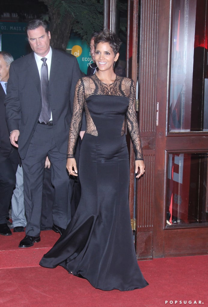 Halle Berry Bares Her Bump in a Revealing Lace Look