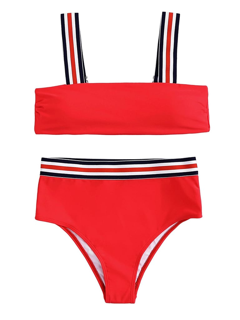 d6e795552b Taylor Swift Solid and Striped Bikini With Joe Alwyn 2018 | POPSUGAR Fashion