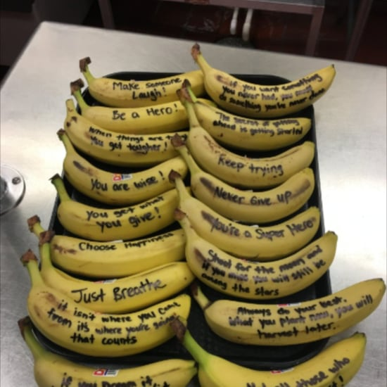 Cafeteria Worker Writes Inspirational Messages on Bananas