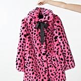 Lazy Oaf Pink & Black Leopard Fur Coat
