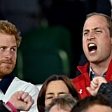 """Harry gave William a """"look"""" as he cheered during the Rugby World Cup in 2015."""
