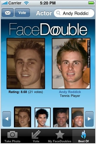 Face double app tells you who your celebrity look alike is for App that tells you what is in a picture