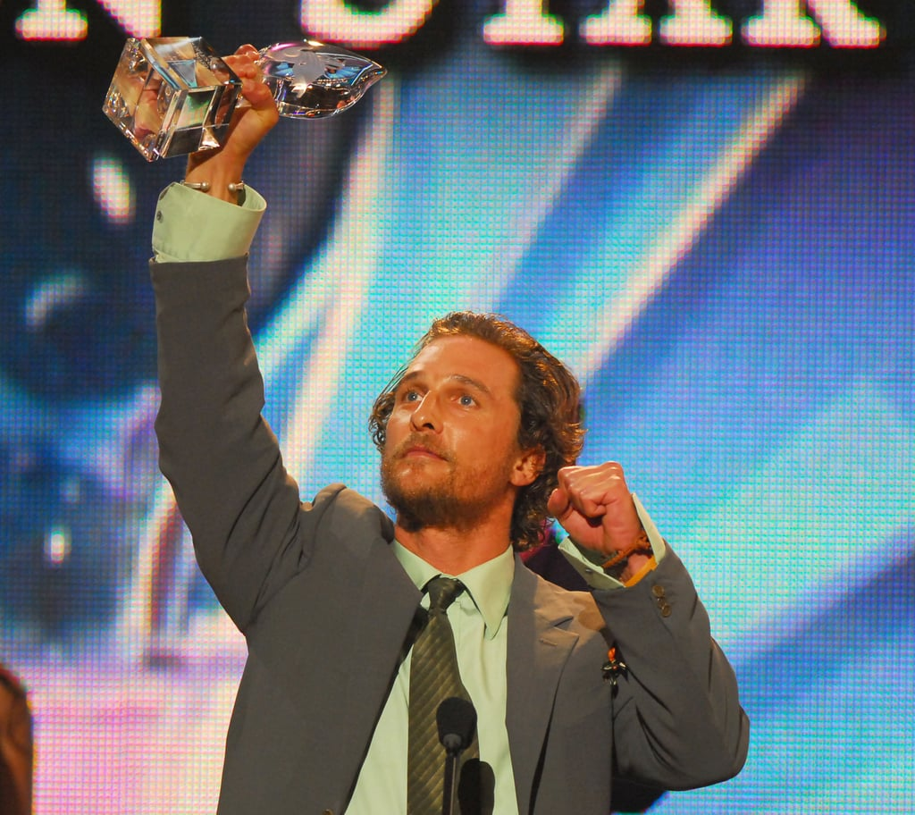 Matthew McConaughey got animated while accepting his favourite male action star award in 2006.