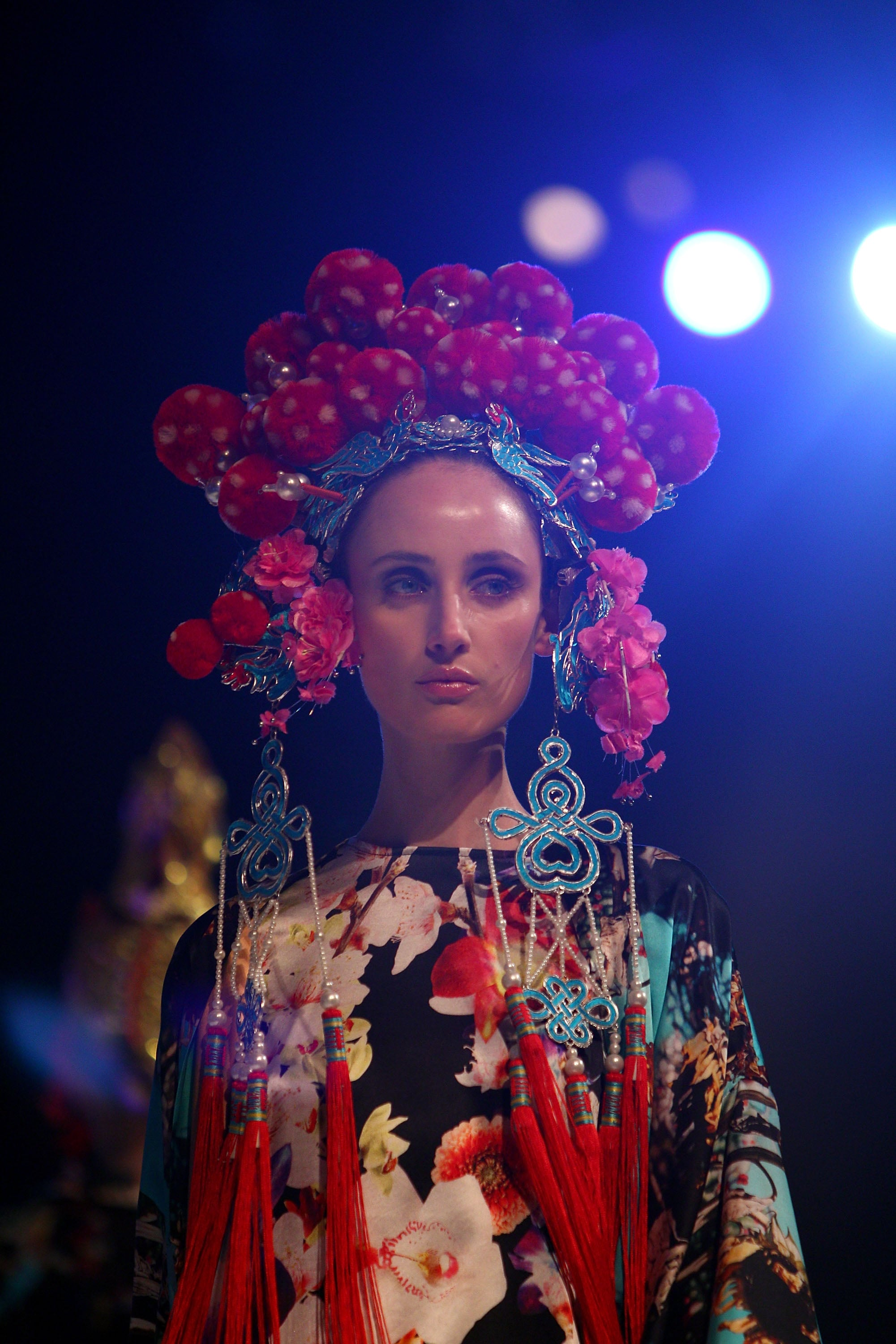 A striking look from the Fashion Full Stop: Decades of  Australian Fashion and Music show.