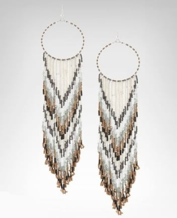 Reminiscent of a feather-decorated dream catcher, these wood and cylinder beaded hoop earrings are the perfect accessory for a playful Summer romper. 