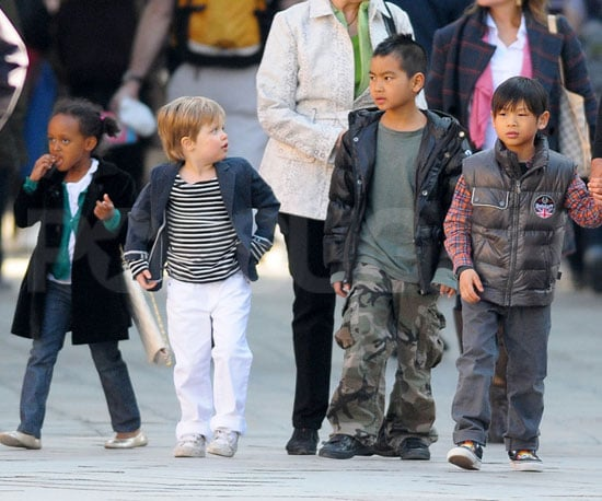 Slide Picture of Shiloh, Zahara, Maddox, and Pax Jolie-Pitt in Venice With Grandparents