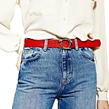 Topshop Snake Embossed Genuine Calf Hair Belt
