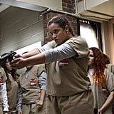 The first clip from season five shows Daya (Dascha Polanco) at the middle of the riot, while everyone around her screams for her to shoot Humphrey. Will she pull the trigger?