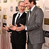 Lincoln director Steven Spielberg and Bradley Cooper shared a laugh on the red carpet.