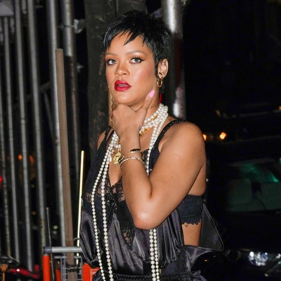 Rihanna Wears Black Lace Slip Dress For Dinner in NYC