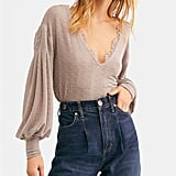 Free People Dream Girl V-Neck Bishop-Sleeve Top