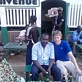 Here Garfors enjoys a beer with a local police officers and cassette-tape salesman in N'Djamena, the capital and largest city in Chad.
