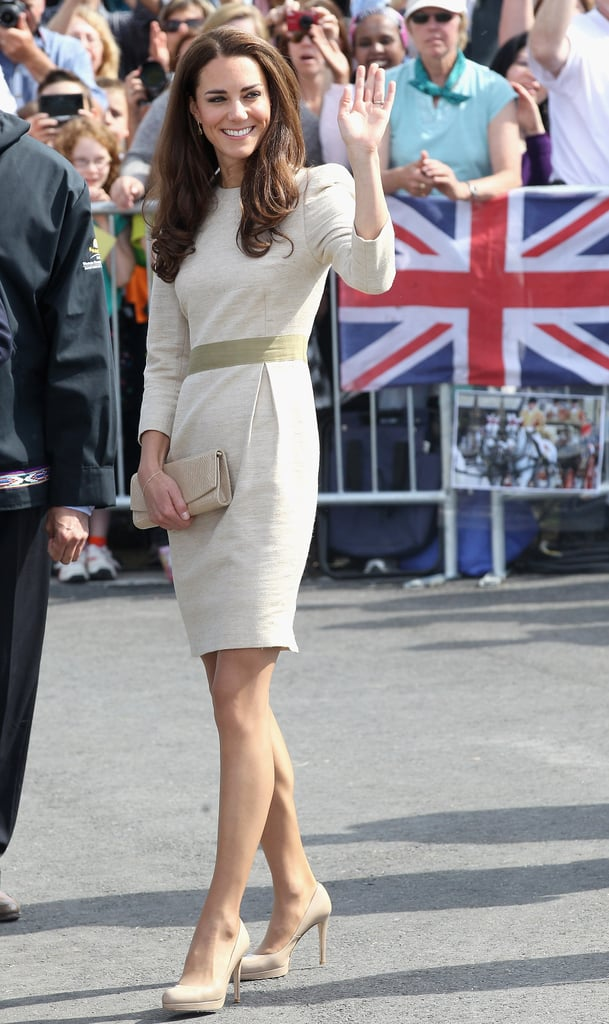July 5th, 2011  Attending an official welcome ceremony at the Somba K'e Civic Plaza on in Yellowknife, Canada.   Kate wears a silk linen weave Marlene Birger Bullet Dress and neutral LK Bennett Sledge2 pumps. She finished the look with an eggshell envelope clutch and Kiki McDonough Citrine Drop earrings.
