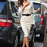 Miranda Kerr's ultrasophisticated Victoria Beckham sheath was an unexpectedly posh alternative to the typical Winter-dress fare.