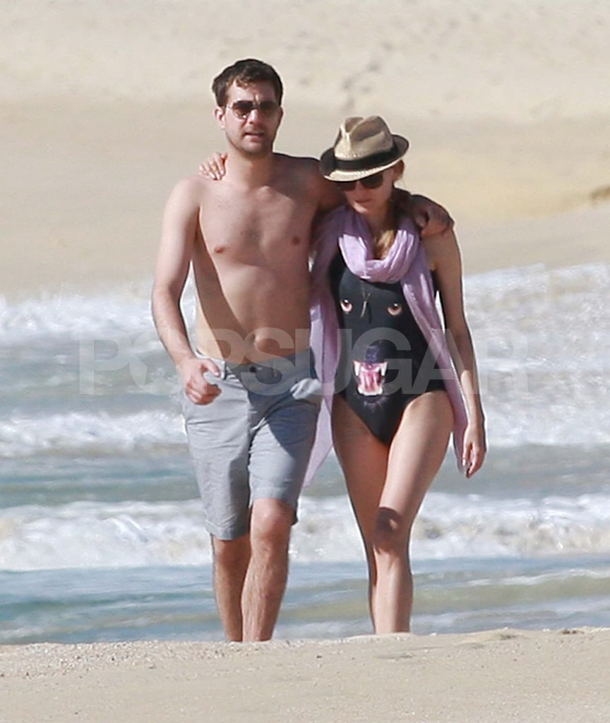 Diane Kruger and Joshua Jackson slipped off their coverups for a walk on the beach in Cabo this afternoon. Diane accessorized her backless panther suit with a necklace and scarf while Josh showed off his shirtless physique. The duo arrived in Mexico over the weekend and spent time relaxing outside of their hotel before strolling in the sand. The warm weather is a change from Josh's usual spot in Vancouver, and perhaps they'll heat things up even more with another sexy make-out session.