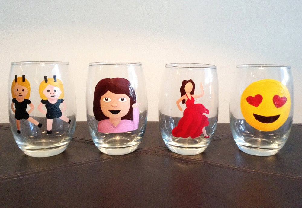 Emoji stemless wine glass set of four ($50)