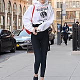 Gigi Hadid Orange Furla Backpack