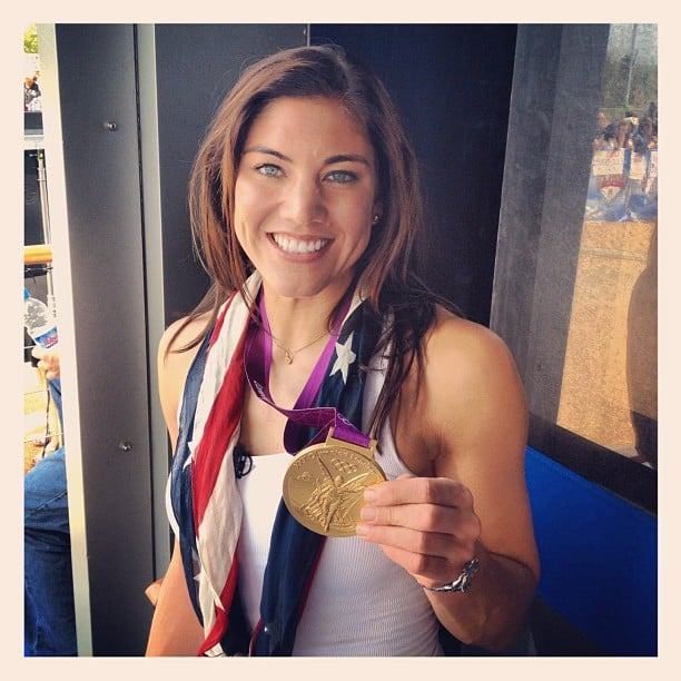 Hope Solo posed with her gold medal. Source: Instagram user todayshow