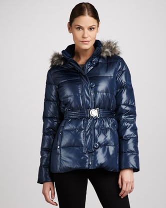 Get a brilliant shade of blue, a faux-fur collar, and a figure-flattering cinched waist with this DKNY Faux-Fur-Trim Puffer Parka ($175) — and all for under $200.