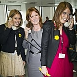 Princess Eugenie and Princess Beatrice are joined by their mother, Sarah Ferguson, at the charity event.