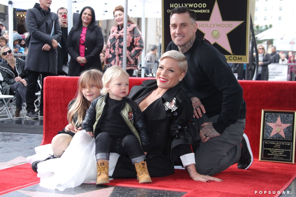 """After more than 23 years in the spotlight, Pink finally received her own star on the Hollywood Walk of Fame on Tuesday. The singer was surrounded by her loved ones for her special day, including her husband of 13 years, Carey Hart, and their two children, 7-year-old Willow and 2-year-old Jameson. During a speech on stage, Ellen DeGeneres took a moment to praise the singer's career and her incredible parenting abilities. Of course, one of the sweetest moments from the ceremony was when Pink gave a sweet shout-out to her kids. """"My children . . ."""" she said looking at her daughter and son in the crowd. """"You guys are my stars and I would never shine without you!"""" Aww!"""