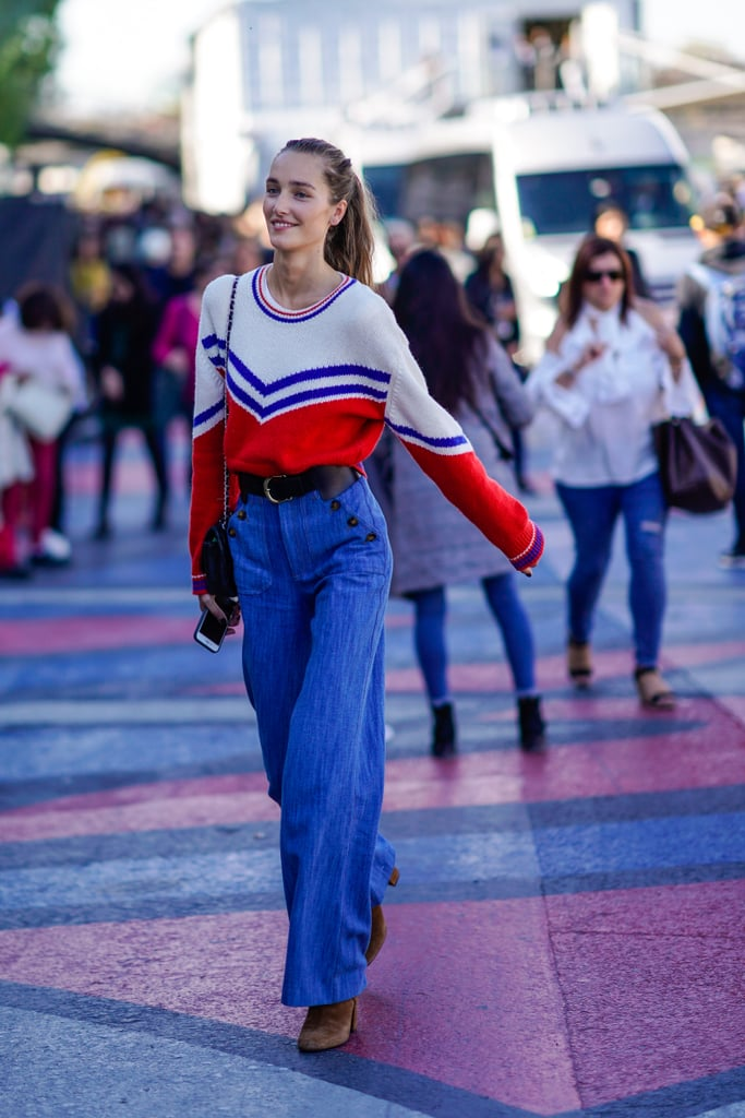 Wear Swingy Denim With a Retro Print Sweater and Chunky Booties For a '70s Look