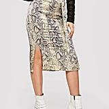 Shein Snake-Print Slit Skirt