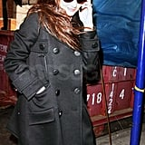 Katie Holmes was all smiles while on the phone in NYC.