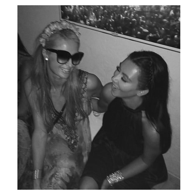 Paris Hilton and Kim reunited, seemingly ending their rumored feud.  Source: Instagram user kimkardashian