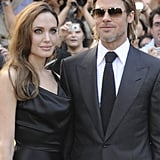 Angelina and Brad posed for photos together.