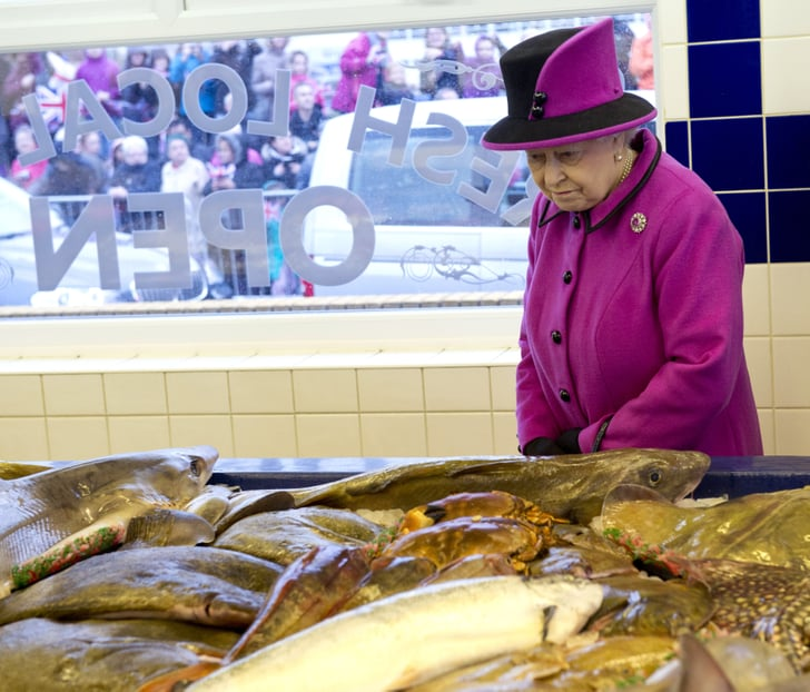 Least when she browsed fish at a market queen elizabeth for Fish market queens