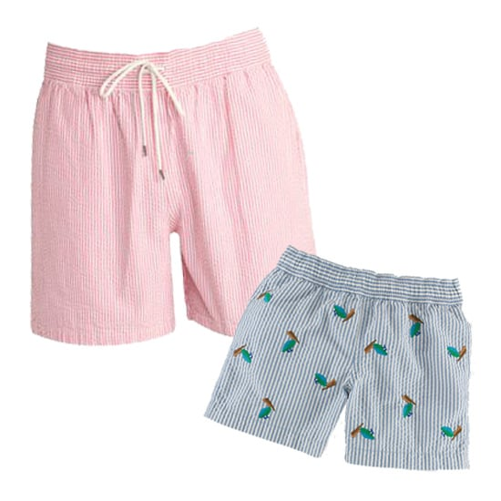 Father-son looks don't have to match to a tee — coordinating can be just as cool. Try Ralph Lauren's Hawaiian Seersucker Stripe Swim Short ($98) for dad and the brand's Traveler Seersucker Swim Short ($30, originally $50) for his favorite baby boy.