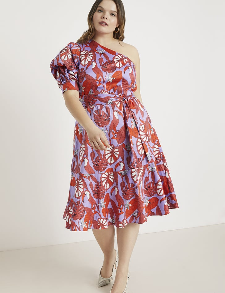Eloquii One Shoulder Fit And Flare Dress Wedding Guest