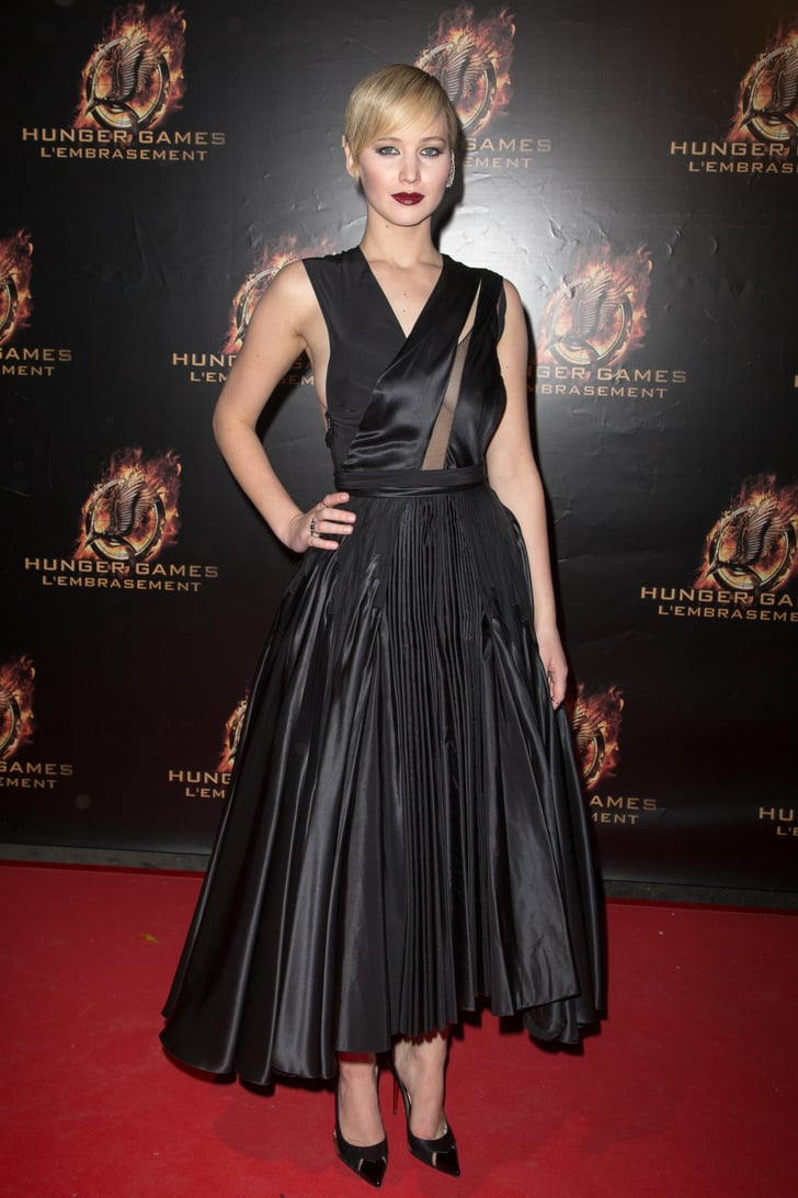 Jennifer Lawrence In Black Dior Haute Couture Dress Raf