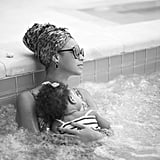 Beyoncé and Blue Carter relaxed in a hot tub. Source: Beyoncé Knowles